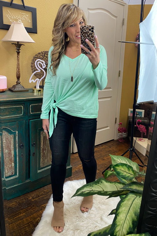 Just Fabulous Long Sleeve Knit Top with Manual Side Tie, Mint