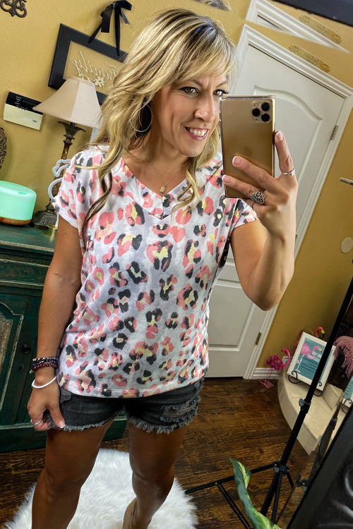 Short Sleeve V Neck Watercolor Print Top, Coral/ Grey/ Yellow, S-XL
