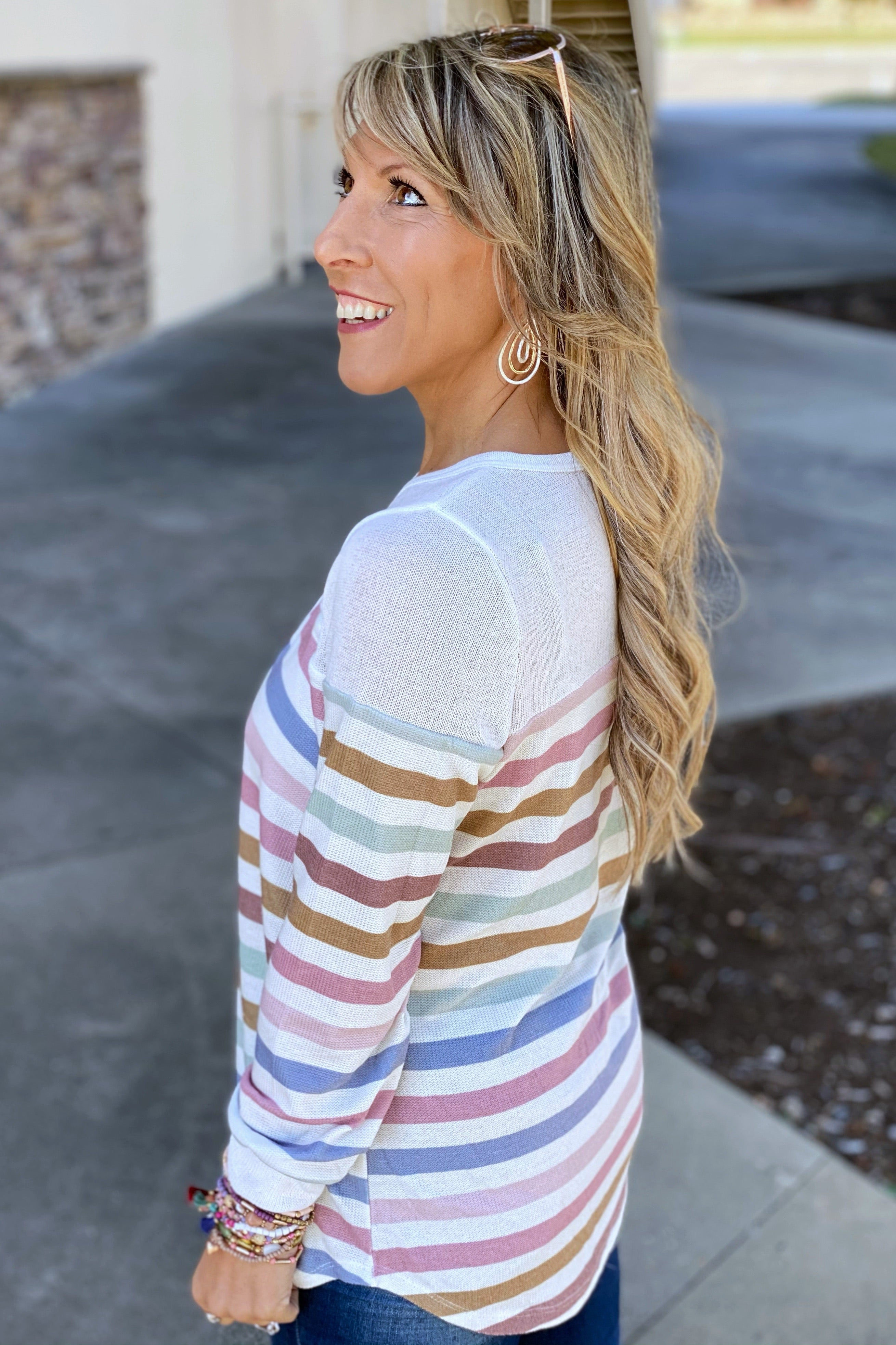 Here With You Multi Color Stripe Knit Top with Buttoned Front Neckline & Contrast Yoke, White