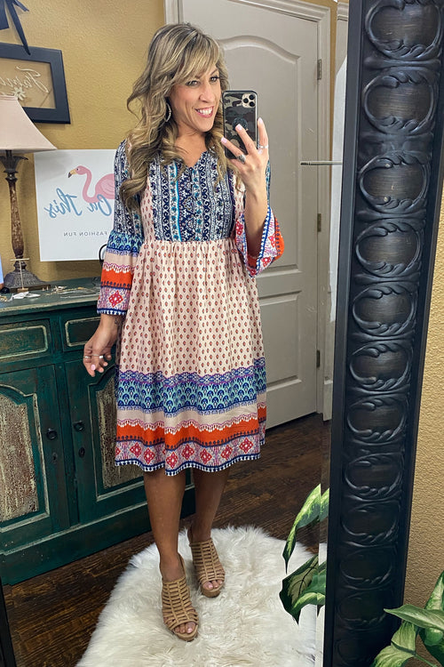 Sweet Caroline Peasant Neckline, Three-quarte sleeves, Empire Waist Boho Dress