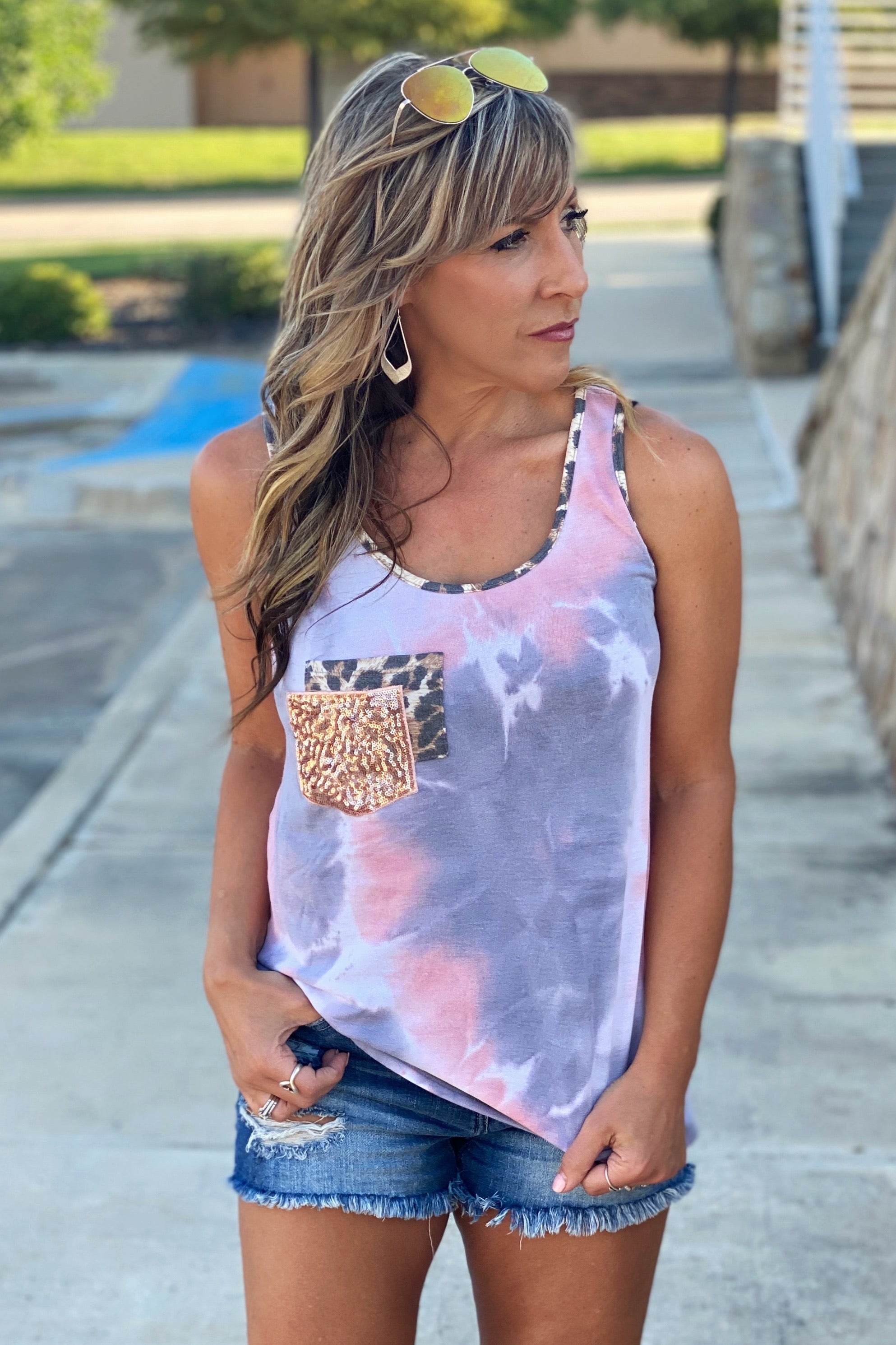 French Terry Tie Dye Tank Top with Animal Print Trim &  Double Pocket with Glitter, Pink, S-XL