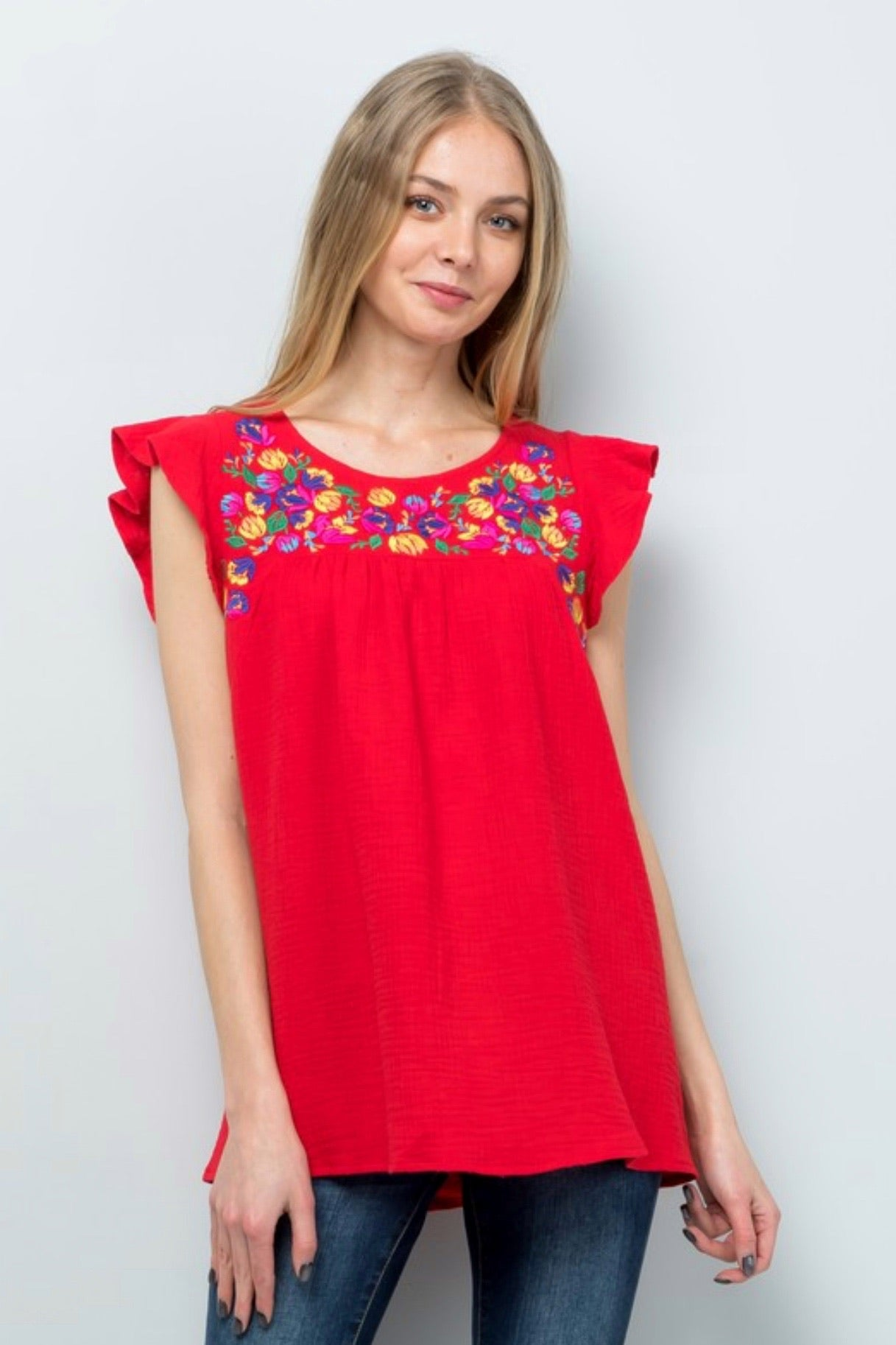 Floral Embroidered Cotton Flutter Sleeve Top, Red, S-L