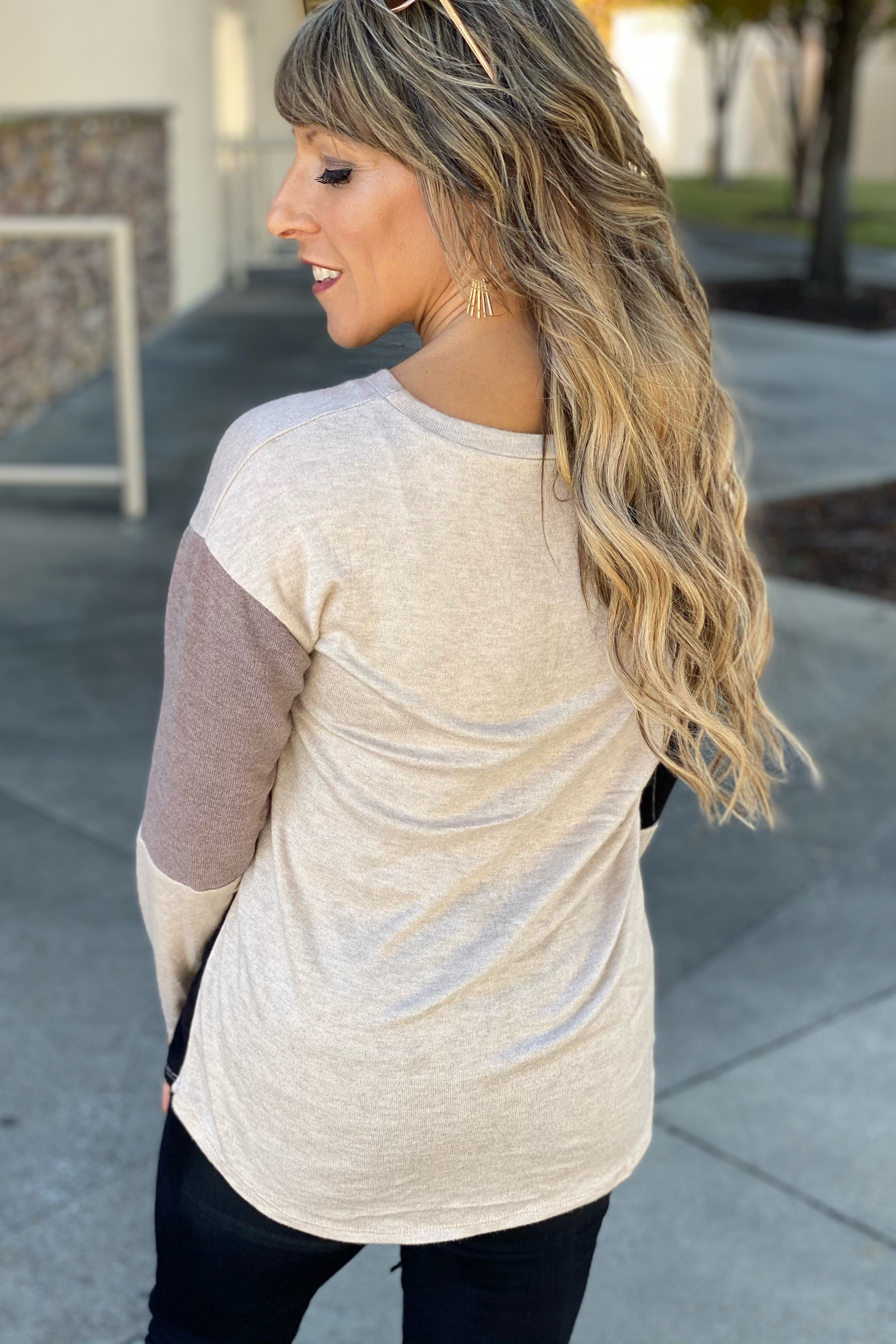 I'm Alright Favorite Fall Neutral Color Block Top