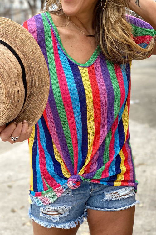 Everlasting Love Vivid Multi Color Vertical Stripe Top