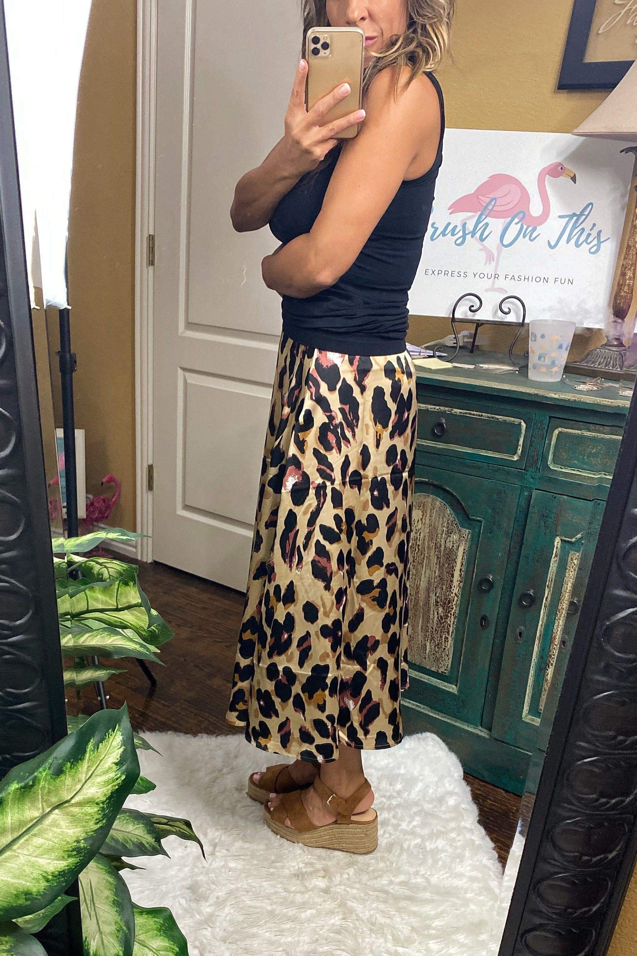 Rockabye Baby Dull Satin A-Line Animal Print Maxi Skirt