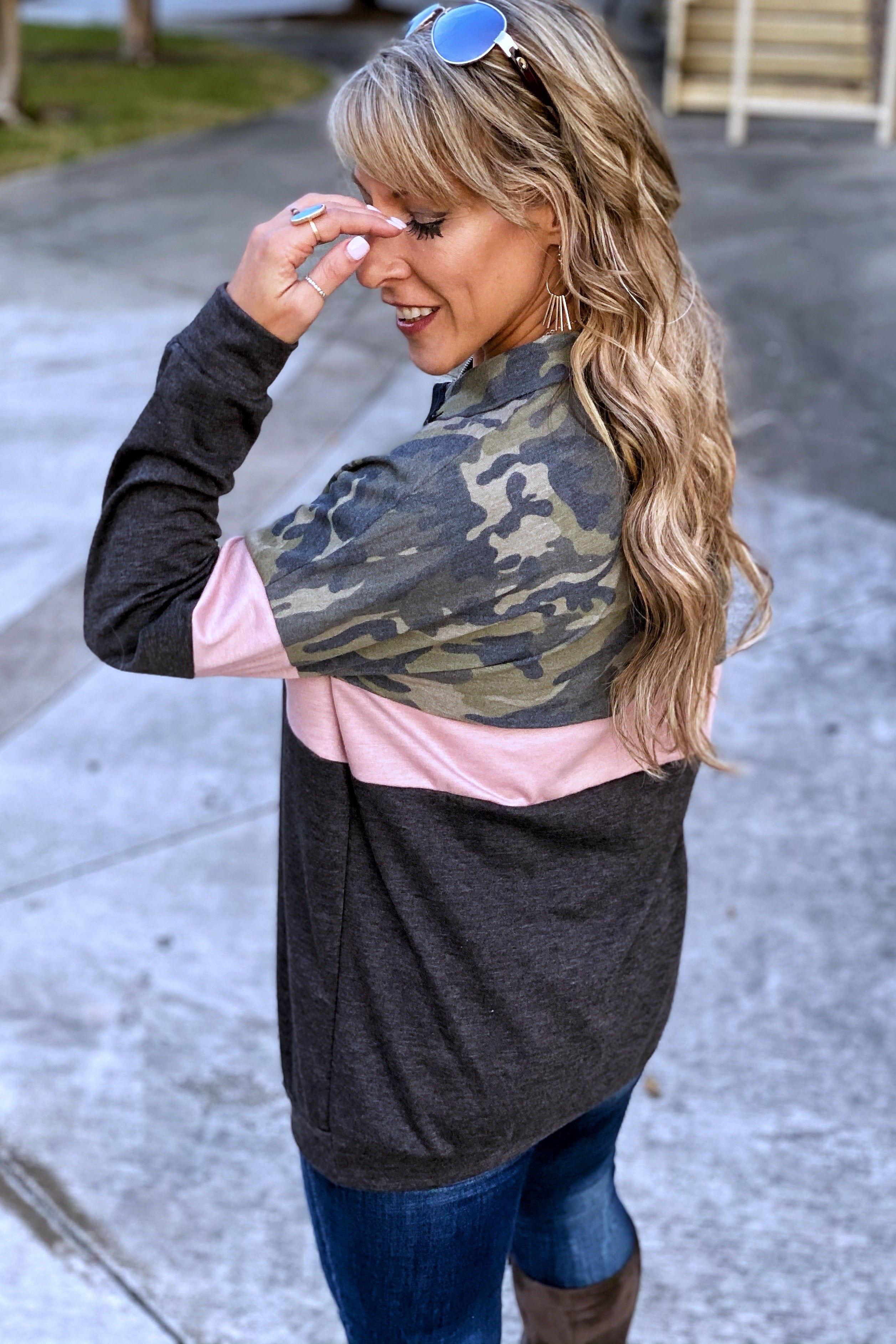 After Loving You Camo & Pink Color block Long Sleeve Pullover with Front Zip Detail