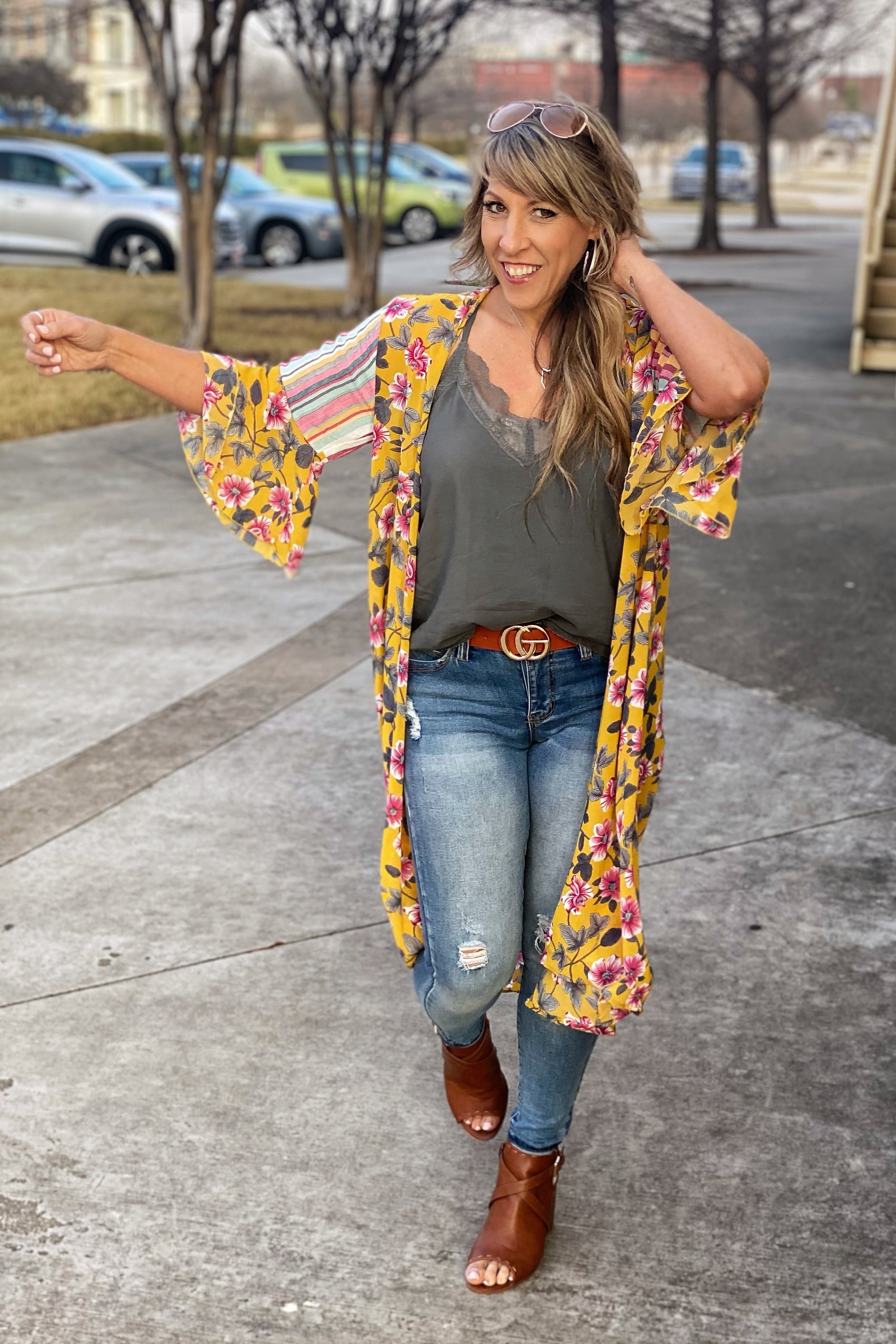 Only Prettier Floral Duster with Ruffle Sleeves & Multi Vertical Stripe Shoulder Detail
