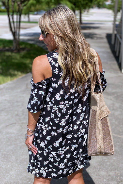 Floral Print Cold Shoulder Ruffle Detail Dress