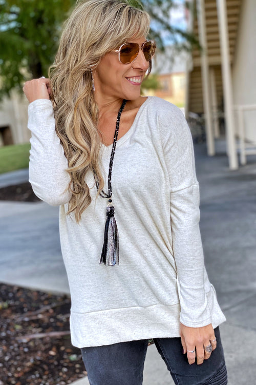 Sweet Dreams Super Soft V neck Tunic with Drop Shoulder & Split Hem, Cream