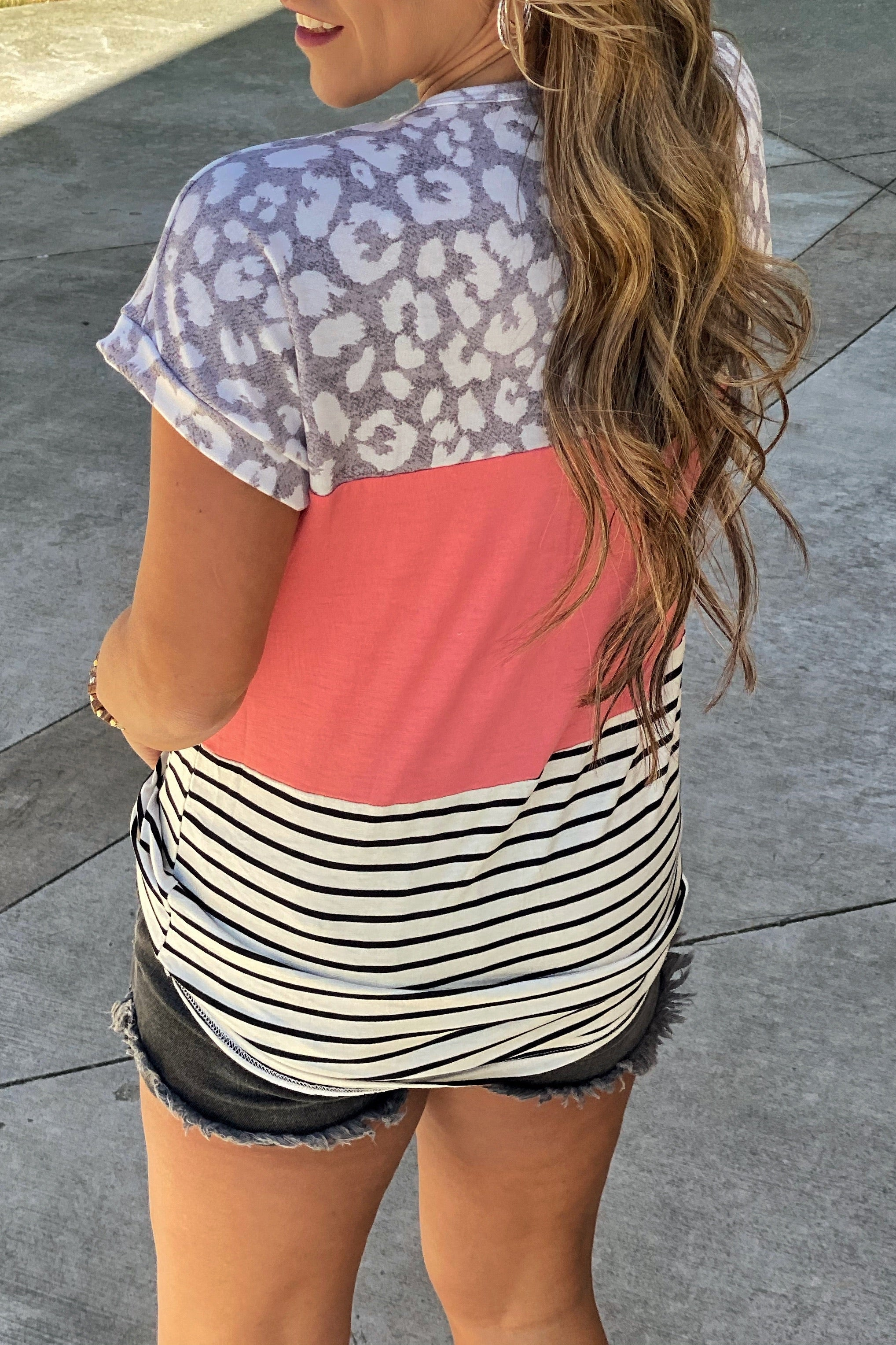 Just Fine Animal Print Color Block Tunic Top with Stripe Pocket Detail, Coral