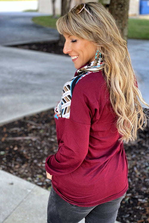 Acapella Aztec Print Pull Over with Front Zip Detail, Maroon