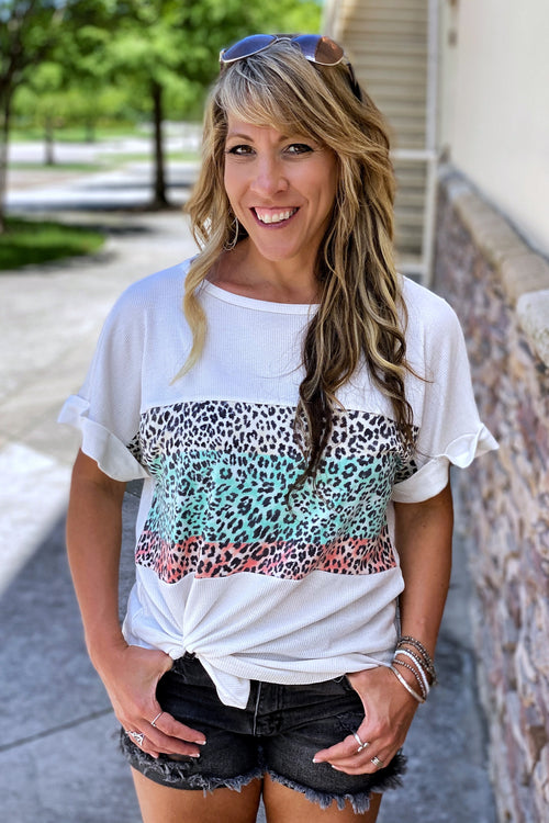 Multi Colored Animal Print Contrast Boat-Neck Top with Cuffed Sleeves, White, S-L