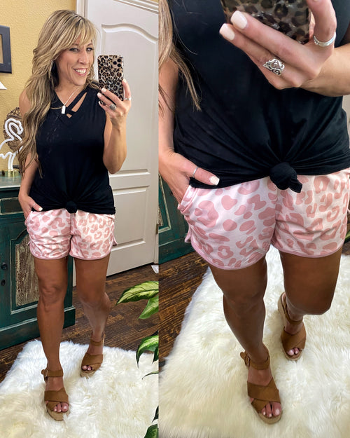 Blush Animal Print Mid Rise Print Everyday Shorts with Tie & Elastic Waist with Pockets