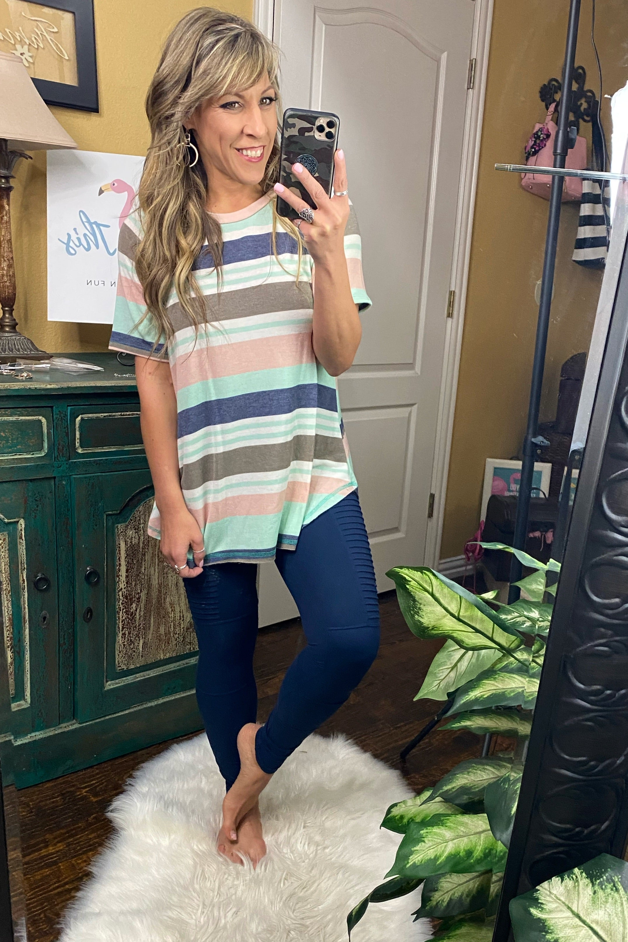 Side By Side French Terry Multi Stripe Round Neck Reverse Stitch Short Sleeve Tunic