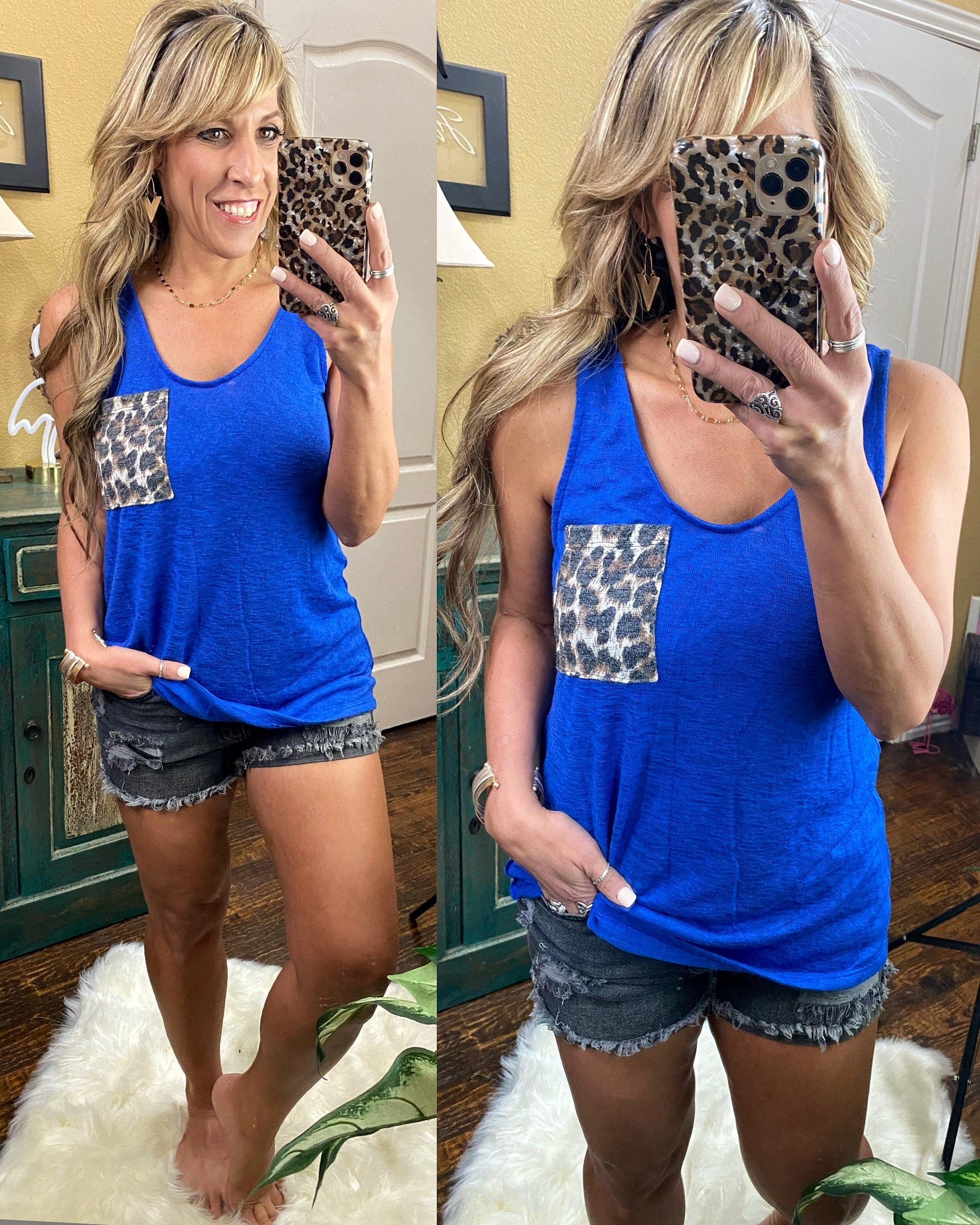 Knit Tank Top with Scoop Neckline and Animal Print Pocket Detail, Royal Blue