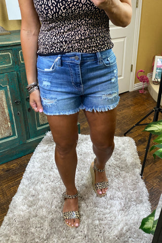 Dream City Distressed High Rise Shorts by YMI