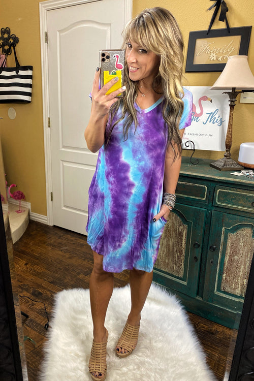 Help Me Rhonda Tie Dye Print Swing Dress with Pockets & V neck, Purple