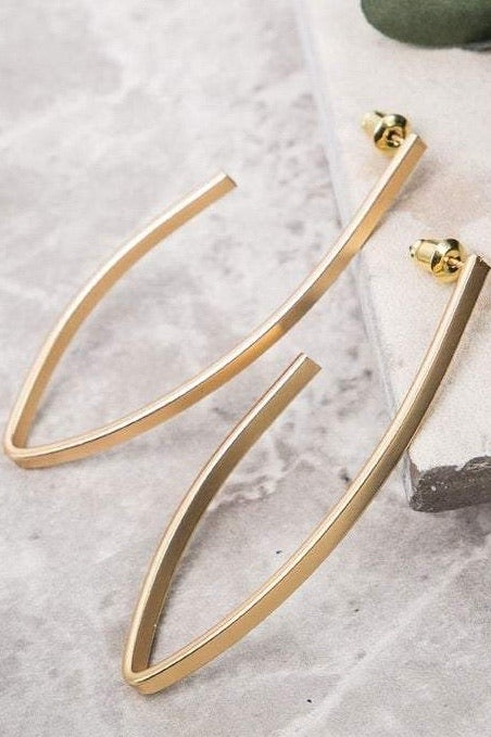 Bet You Wanna Moden Gold Hoop Earrings, Matte Finish