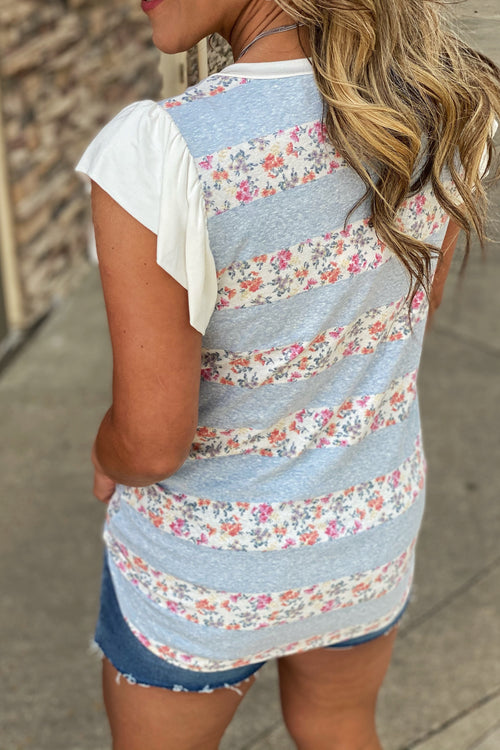 Bella Floral Ruffle Sleeve Stripe Top with Small Floral Print, Blue and White