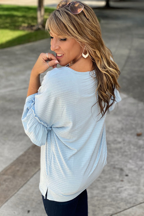 Fall Double Ruffle Sleeved Top with Stripe Detail, Blue