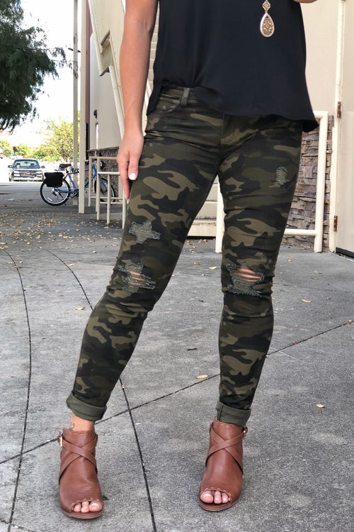 Only A Fool Would Say That Camo Distressed Straight Leg Jeans by Judy Blue - Olive