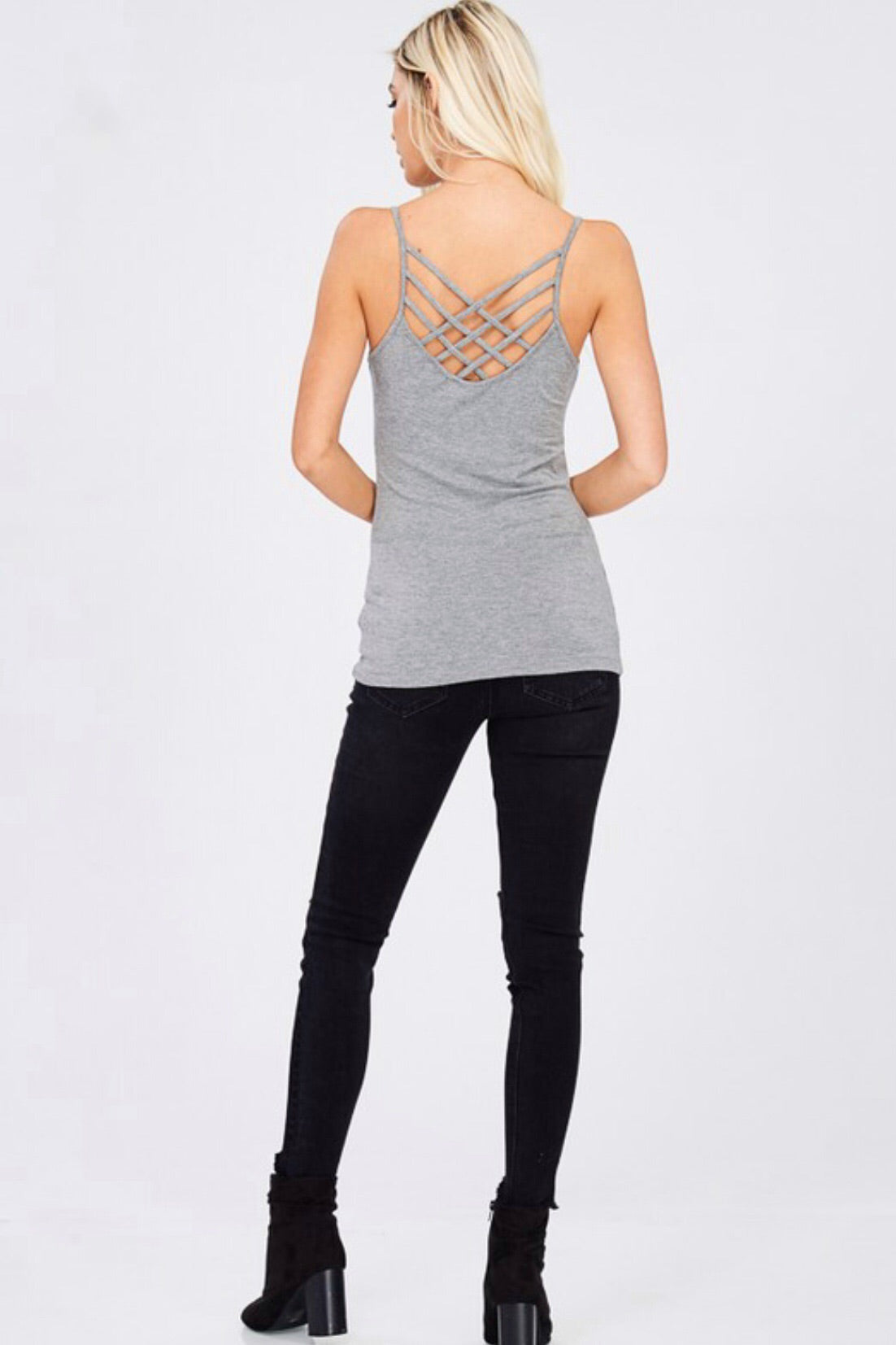 Magic Reversible Woven Cage Strap Fitted Tank, Gray