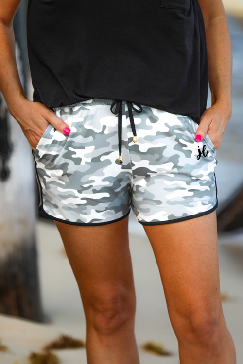 Camo Mid Rise Print Everyday Shorts with Tie & Elastic Waist with Pockets
