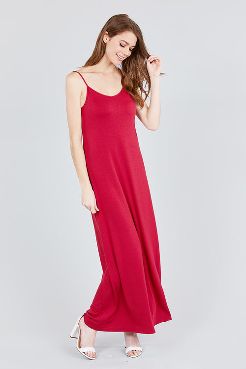 Don't Stop Believin' Adjustable Strap Double V-Neck Cami Maxi Dress, Red