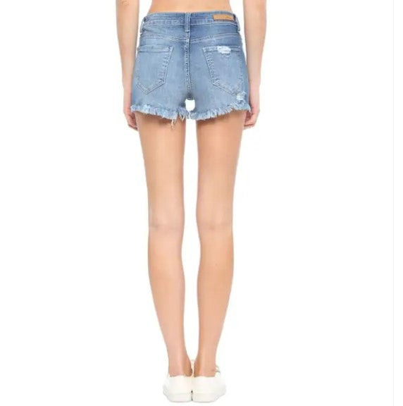 "Mid Wash Cello Frayed Denim Shorts with 3"" Inseam"