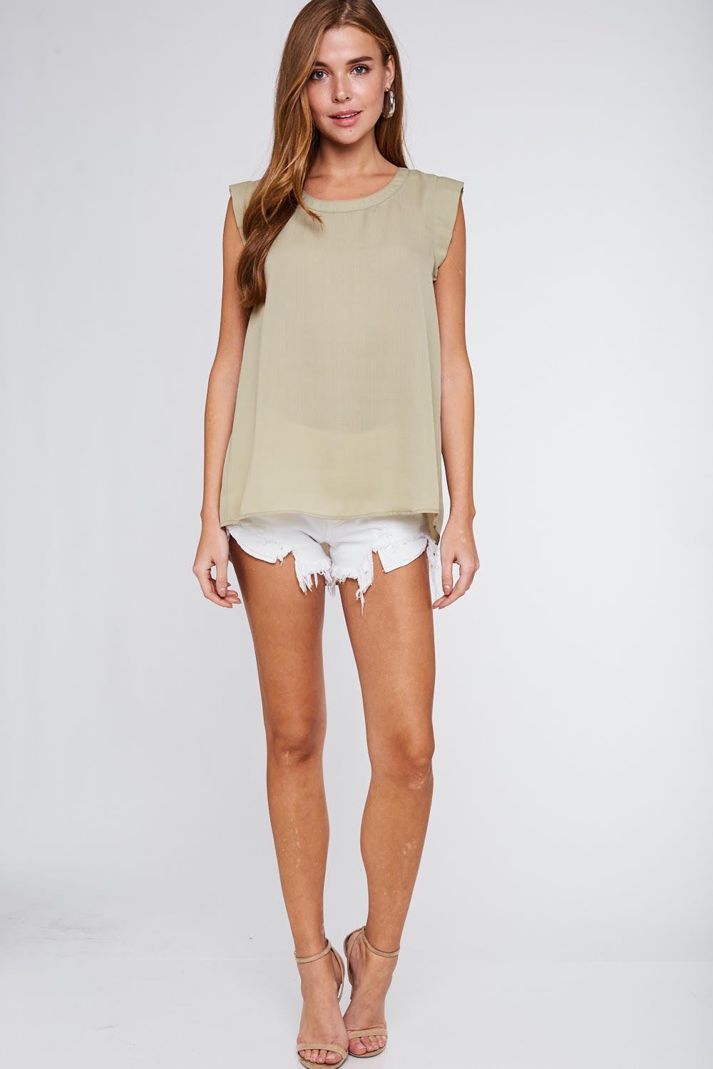 May We All Sleeveless Blouse with High Low Hem, Olive