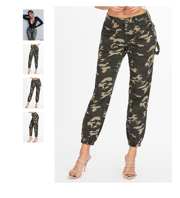 G.I. Jane Joggers with Elastic Hem, Single-Button Closure with Front Zipper by YMI