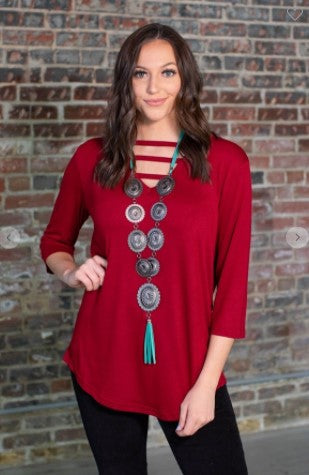 Always You 3/4 Basic V-Neck Tunic Top with Cross Neck Detail
