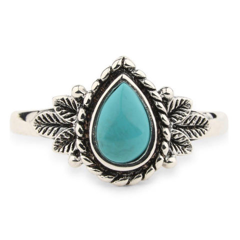 Turquoise Teardrop Floral Ring