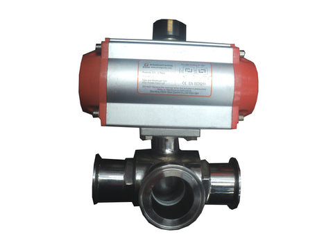 3 Way Pneumatic Actuator With Triclover Fitting T-Port