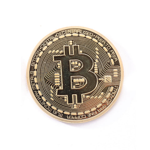 Gold-Plated Physical Bitcoin / BTC with Case (makes a great gift) 1pc