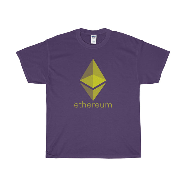 yellow ethereum text and logo