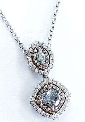 Natural Fancy Green Blue Pink Color Diamond Custom Handmade Necklace 18K 1.80 CT