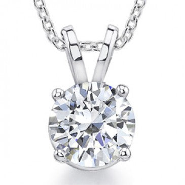 Diamond Solitaire Pendant in 18k White Gold (1 1/2 ct. tw.)