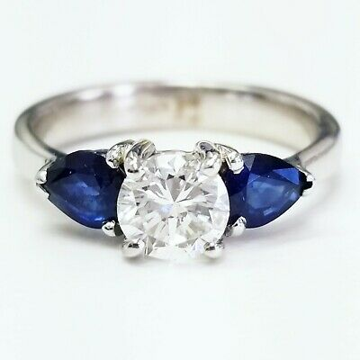 1.20 CT H Color SI1 Natural Diamond and Sapphire Engagement Ring Round Cut