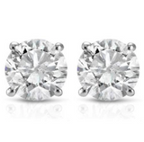 0.85 CTW Diamond Studs Earrings14k White Gold Push Back Natural Round Cut 4.7MM