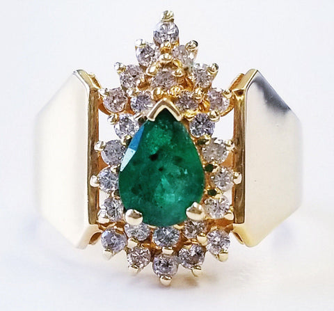 14K Yellow Gold Estate Diamond and Emerald Engagement Ring