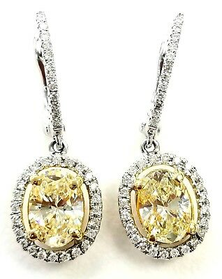 2 Carat Drop Earrings Natural Diamonds Canary Yellow Color 18K Gold Oval Cut