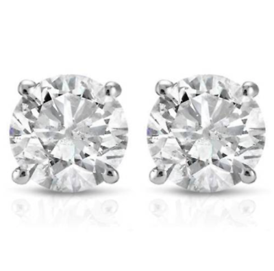 1/3 CT Diamond Studs Earrings 14k White Gold Push Back Natural Round Cut 3.9MM