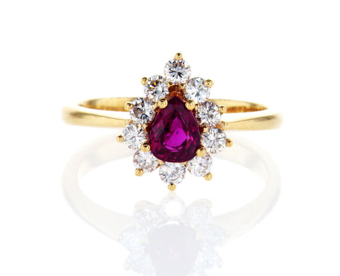 GAL Certified 18k Yellow Gold Pear Cut Red Ruby Diamond Engagement Ring 1.25 CTW