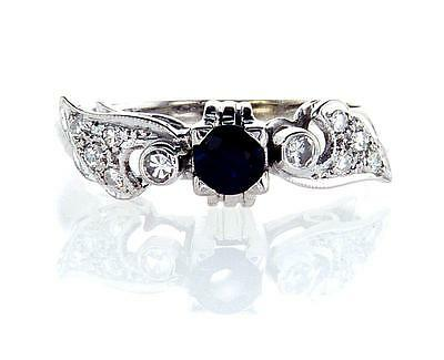Diamond and Blue Sapphire Natural Round 14k White Gold Engagement Ring 0.60 CTW