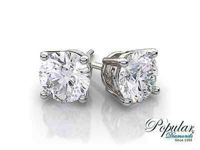 14k White Gold Screw Back Natural Round Cut Diamond Studs Earrings 1.20CT F SI1