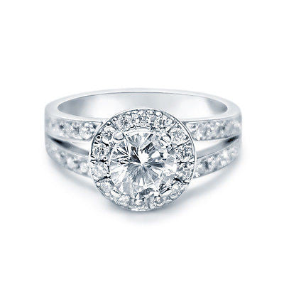 14k White Gold Round Cut Halo Diamond Engagement Ring 1.35 ct I Color SI2