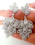 18k White Gold Natural Round Cut Drop Leaf Dangle Diamond Earrings 5 CT H SI2