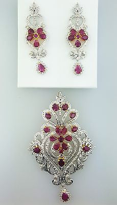 Pendant and Earring 14k Gold Natural Oval Red Ruby & Round Cut Diamond 4.16 CTW