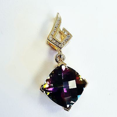 GAL Cushion Natural Mystic Topaz and Diamond Solitaire Pendant 14k Yellow Gold